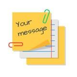 Textmeddelande på pappers- klistermärkear Arkivfoton