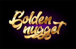 Textmetalllogoikonen-Design handwri goldenes des Nuggets 3d Goldgoldenes vektor abbildung