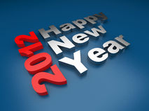 Texto 2012 de la Feliz Año Nuevo. 3d en azul Fotos de archivo libres de regalías