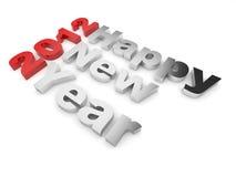Texto 2012 de la Feliz Año Nuevo. 3d en blanco Imágenes de archivo libres de regalías