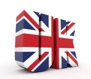 Texto 3d BRITÂNICO com bandeira ilustração stock