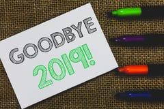 Texto adeus 2019 da escrita Livro Branco da transição de Eve Milestone Last Month Celebration do ano novo do significado do conce foto de stock royalty free