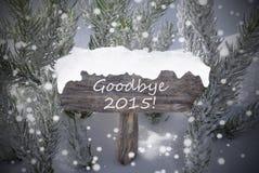 Texto adiós 2015 del árbol de abeto de los copos de nieve de la muestra de la Navidad Fotos de archivo