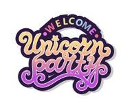 Texto agradable de Unicorn Party como logotipo, insignia, remiendo, icono Imagen de archivo