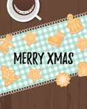 Texto alegre do Xmas com as cookies tradicionais dos feriados de inverno ilustração royalty free