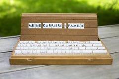 Texto alemão: Meine Karriere Familie Imagem de Stock Royalty Free