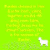 Texto amarelo com um fundo verde e carneiros com folhas brancas ilustração royalty free