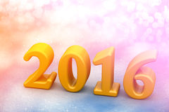 Texto amarelo do Natal do ano 2016 novo na neve Foto de Stock Royalty Free