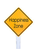 Texto amarillo de la señal de tráfico para la zona de la felicidad aislado en blanco Foto de archivo libre de regalías