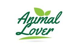 texto animal de la palabra escrita de la mano del amante de la hoja verde para el diseño del logotipo de la tipografía ilustración del vector