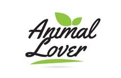 texto animal de la palabra escrita de la mano del amante de la hoja verde para el diseño del logotipo de la tipografía libre illustration