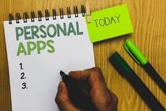 Texto Apps personal de la escritura de la palabra El concepto del negocio para los datos de la información de Online Calendar Pri fotografía de archivo libre de regalías