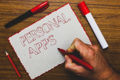 Texto Apps pessoal da escrita da palavra O conceito do negócio para dados da informação de Online Calendar Private do organizador fotos de stock