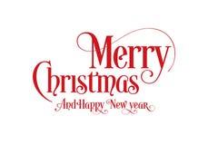 Texto Art Design With White Background de la caligrafía de las letras de la feliz Navidad stock de ilustración