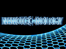 Texto azul da nanotecnologia em luzes do raio e structu azul do graphene Fotografia de Stock Royalty Free