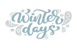 Texto azul del vector de las letras de la caligrafía del vintage de la Navidad de los días de invierno con la decoración escandin stock de ilustración