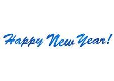 Texto azul no ano novo feliz dos flocos de neve Foto de Stock Royalty Free