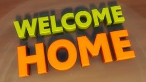 Texto bem-vindo da casa 3d Foto de Stock Royalty Free