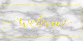 Texto bem-vindo do ouro no mármore Fotografia de Stock Royalty Free