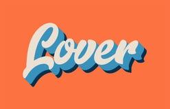 texto blanco azul anaranjado de la palabra escrita de la mano del amante para el lo de la tipografía ilustración del vector