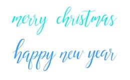 Texto brillante de las letras del cepillo de la Feliz Año Nuevo de la Feliz Navidad del vector en el fondo blanco libre illustration