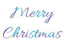 Texto brillante de las letras del cepillo de la Feliz Navidad de la acuarela del vector en el fondo blanco stock de ilustración