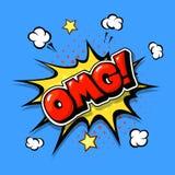 Texto cômico dos desenhos animados da bolha de OMG no golpe do pop art ilustração do vetor