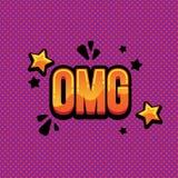 Texto cômico do omg da rotulação Omg cômico do texto da ilustração brilhante do vetor Imagem de Stock