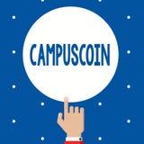 Texto Campuscoin da escrita O significado do conceito descentralizou o cryptocurrency a ser usado por estudantes universitário imagem de stock