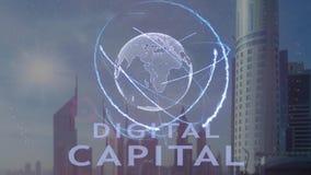 Texto capital de Digitaces con el holograma 3d de la tierra del planeta contra el contexto de la metrópoli moderna metrajes
