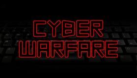 Texto cibernético de la guerra sobre el ejemplo negro del teclado Imagenes de archivo