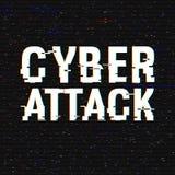 Texto cibernético de la interferencia del ataque Efecto del anáglifo 3D Fondo retro tecnológico Uso del pirata informático, malwa stock de ilustración