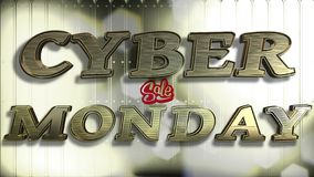 Texto cibernético del oro 3D de la venta de lunes fotografía de archivo libre de regalías