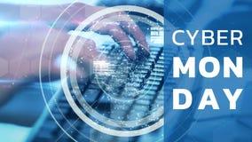 Texto cibernético y hombre de lunes que trabajan en el ordenador