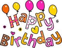 Texto Clipart de la historieta del feliz cumpleaños ilustración del vector