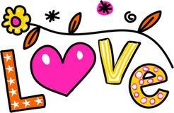 Texto Clipart dos desenhos animados do amor Foto de Stock