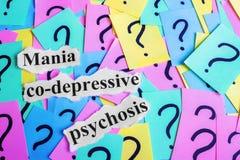 Texto co-depressivo da síndrome da psicose da mania em notas pegajosas coloridas na perspectiva dos pontos de interrogação Fotografia de Stock Royalty Free