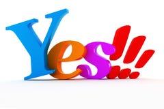 texto colorido brilhante do YES 3d. Fotografia de Stock Royalty Free