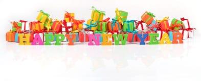Texto colorido de la Feliz Año Nuevo Foto de archivo libre de regalías
