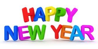 Texto colorido de la Feliz Año Nuevo en el fondo blanco Fotografía de archivo libre de regalías
