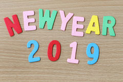 Texto colorido del Año Nuevo Fotografía de archivo