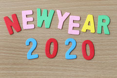 Texto colorido del Año Nuevo Imagen de archivo