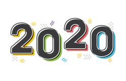 Texto colorido retro del vector del Año Nuevo 2020 stock de ilustración