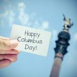Texto Columbus Day feliz Fotos de archivo