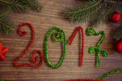 Texto 2017 com ramos do abeto Foto de Stock