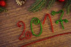 Texto 2017 com ramos do abeto Imagem de Stock Royalty Free