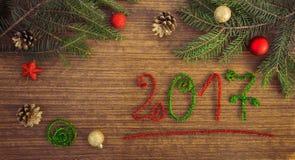 Texto 2017 com ramos do abeto Imagem de Stock