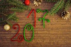 Texto 2017 com ramos do abeto Imagens de Stock