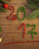 Texto 2017 com ramos do abeto Fotos de Stock