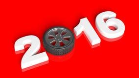 texto 2016 con el borde de la rueda de coche Imagen de archivo libre de regalías